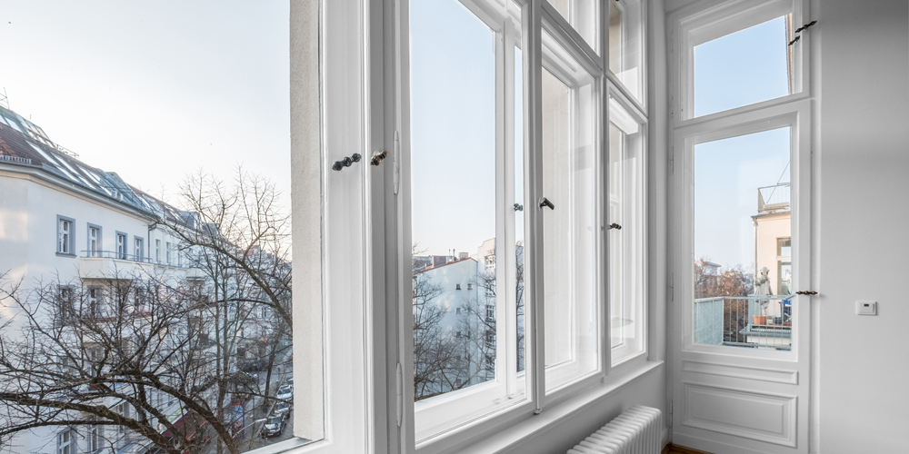 Old wooden double windows