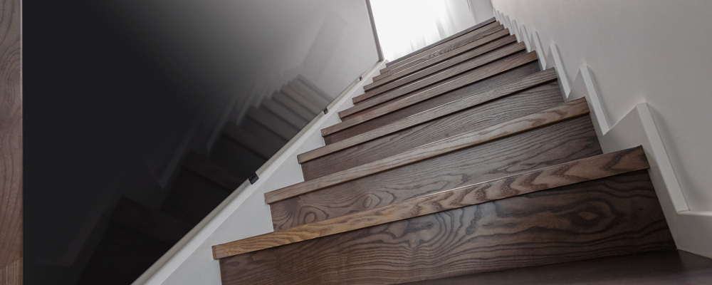 Natural wooden stairs