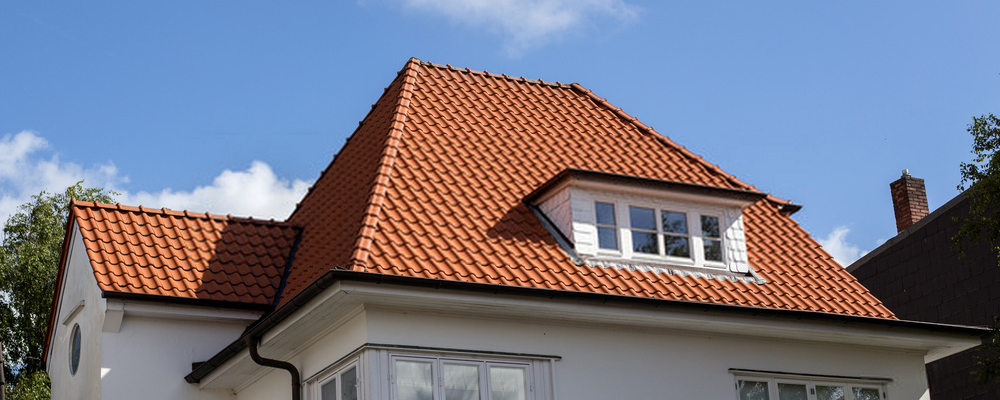 House roof with red tiles