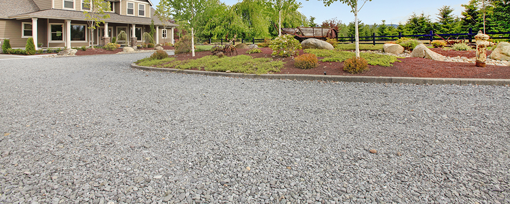 Country house with gravel driveway