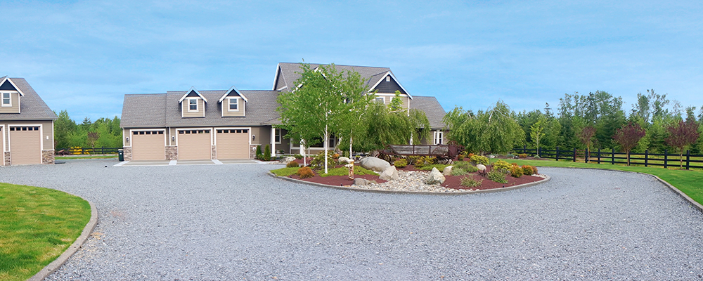 House with gravel driveway