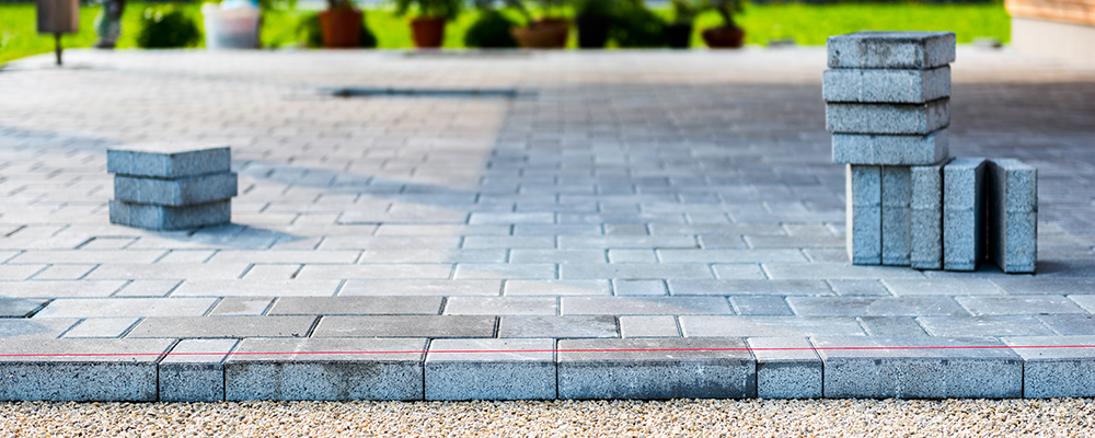 Gray concrete paving slabs
