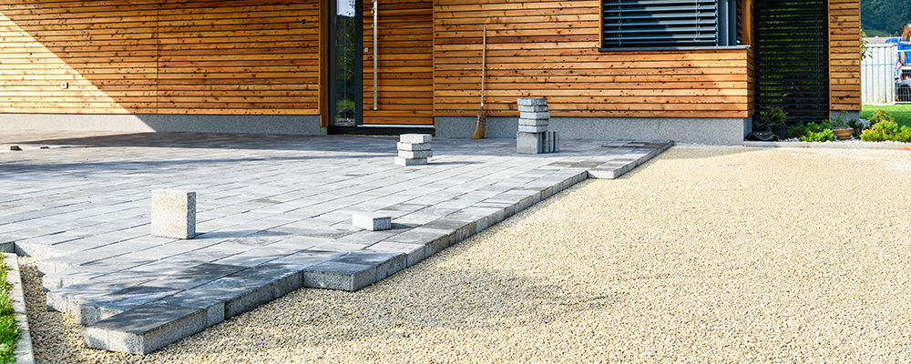 Unfinished driveway slabs paving